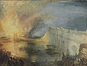The Burning of the Houses of Lords and Commons by J. M. W. Turner, 1835, with Westminster Bridge on the right.