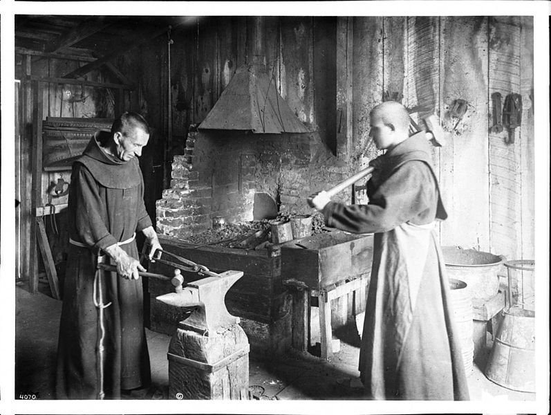File:Two monks working in the blacksmith shop at Mission Santa Barbara, ca.1900 (CHS-4070).jpg