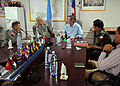 U.S. Air Force Gen. Douglas Fraser, commander of U.S. Southern Command, and Army Lt. Gen. Ken Keen, Joint Task Force-Haiti, meet with United Nations (UN) and UN Stabilization Mission in Haiti leaders at a UN 100306-N-HX866-007.jpg