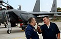 U.S. Air Force Staff Sgt. Trevor Wabel, a crew chief with the 494th Expeditionary Fighter Squadron, gives an F-15E Strike Eagle aircraft orientation tour to Hellenic Air Force Chief Master Sgt. Siogkas Christos 140227-F-MY082-482.jpg