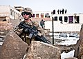 U.S. Army Pvt. Anthony McCarthy keeps watch outside an Afghan local police checkpoint in Marzak village in Afghanistan's Paktika province 120226-A-ZZ999-735.jpg