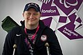 U.S. Army Sgt. 1st Class Joshua Olson smiles for a photograph after competing in the 10-meter rifle competition during the 2012 Paralympic Games in London Sept 120901-F-FD742-001.jpg