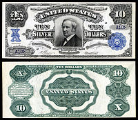 $10 Silver Certificate, Series 1908, Fr.302, depicting Thomas Hendricks
