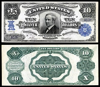 Thomas A. Hendricks - Hendricks depicted on a Series 1908 $10 silver certificate.