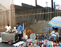 Mexico-United States barrier at the pedestrian border crossing in Tijuana