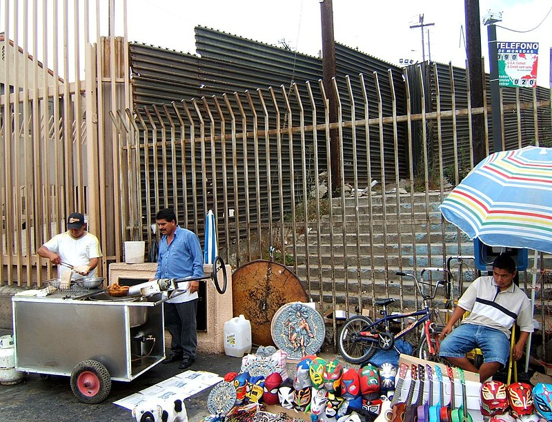 US-Mexico barrier at Tijuana pedestrian border crossing.jpg