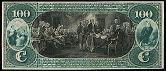 Declaration of Independence (Trumbull) - Image: US NBN NC Raleigh 1557 Orig 100 761 A (reverse)