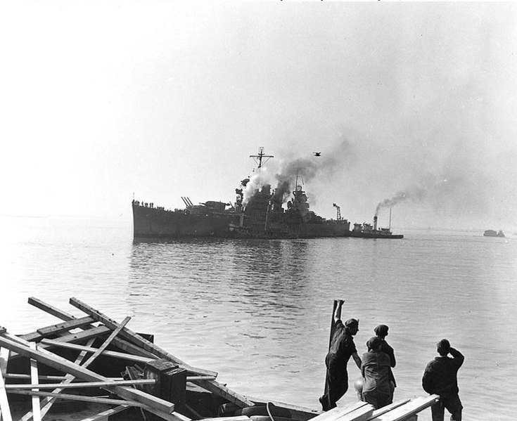 File:USS Boise (CL-47) arrives at the Philadelphia Naval Shipyard, for battle damage repairs, in November 1942 (80-G-40069).jpg