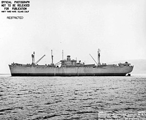 Broadside view of USS Celeno (AK-76) off Mare Island Navy Yard, Vallejo, CA., 27 November 1943.