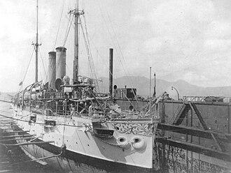 USS Cleveland (C-19) - Image: USS Cleveland (C 19) in drydock