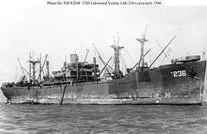 USS Lakewood Victory (AK-236) - Image: USS Lakewood Victory (AK 236) at anchor San Francisco in March 1946