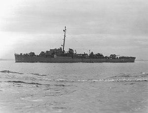 USS Samuel B. Roberts (DE-413) off Boston, Massachusetts (USA), circa in June 1944 (NH 90603).jpg