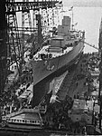 USS Wichita (CA-45) before its launch at the Philadelphia Naval Shipyard on 16 November 1937.jpg