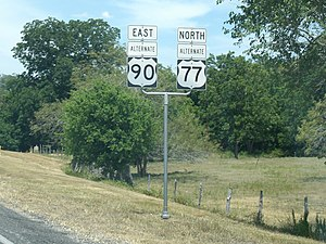 U.S. Route 77 Alternate (Texas) - U.S. 77 Alternate is concurrent with U.S. 90 Alternate west of Hallettsville.