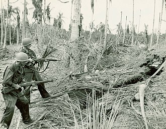 Battle of Buna–Gona: Allied forces and order of battle - American soldiers clearing a bunker near Buna.
