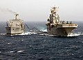 US Navy 030407-N-2515C-009 USS Tarawa (LHA 1) receives fuel during an underway replenishment with the Military Sealift Command (MSC) oiler USNS Yukon (T-AO 202).jpg