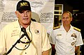 US Navy 041022-N-5862D-095 Commander, Navy Recruiting Command, Rear Adm. Jeff Fowler, right, and NFL Hall of Fame Quarterback Terry Bradshaw, co-owner of the FitzBradshaw racing team, takes questions during a press conference.jpg