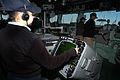 US Navy 050425-N-5373B-006 Operations Specialist 3rd Class Michelle Orello mans an AN-SPA-25G Radar Console on the bridge aboard the amphibious assault ship USS Iwo Jima (LHD 7).jpg