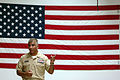 US Navy 081003-N-9818V-533 Master Chief Petty Officer of the Navy (MCPON) Joe R. Campa Jr. addresses Sailors stationed at Explosive Ordnance Disposal Mobile Unit (EODMU) 5 during an all-hands call.jpg