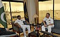 US Navy 090821-N-8273J-181 Chief of Naval Operations (CNO) Adm. Gary Roughead meets with Pakistan Fleet Commander, Rear Adm. Asif Sandila during an office call at Pakistan Naval Technical School in Karachi, Pakistan.jpg