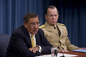 2013 United States federal budget - Secretary of Defense Leon Panetta, pictured here with Chairman of the Joint Chiefs of Staff Mike Mullen, estimated that the Budget Control Act would reduce the base military budget by 23% from the funding levels expected by the Defense Department.