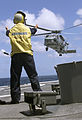 US Navy 991013-N-0000C-001 SH-60B leaves deck of ship.jpg