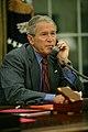 US President Bush calling Louisiana Governor Jindal on Gustav.jpg