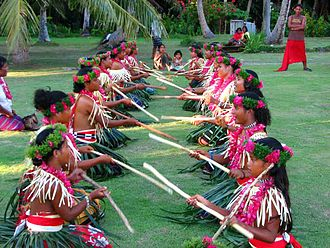 Federated States of Micronesia - People performing a welcome ceremony on Ulithi atoll.