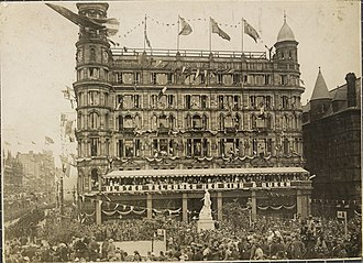 Parliament of Northern Ireland - Robinson and Cleaver Department Store in Belfast, decorated for the State Opening of the first Northern Ireland parliament. June 22, 1921.