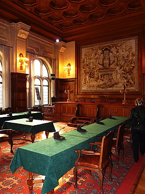 Yves Fortier (lawyer) - Permanent Court of Arbitration courtroom.