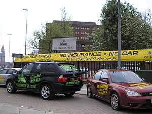 Vehicle insurance - Uninsured cars seized by Merseyside Police on display outside the force's headquarters in 2006