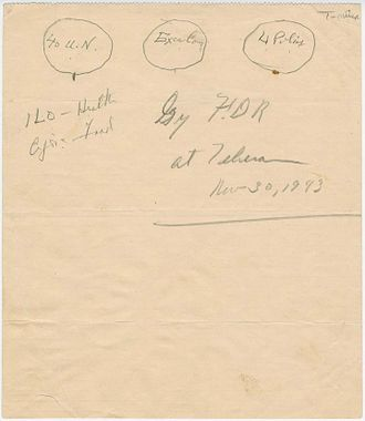 United Nations - 1943 sketch by Franklin Roosevelt of the UN original three branches: The Four Policemen, an executive branch, and an international assembly of forty UN member states.