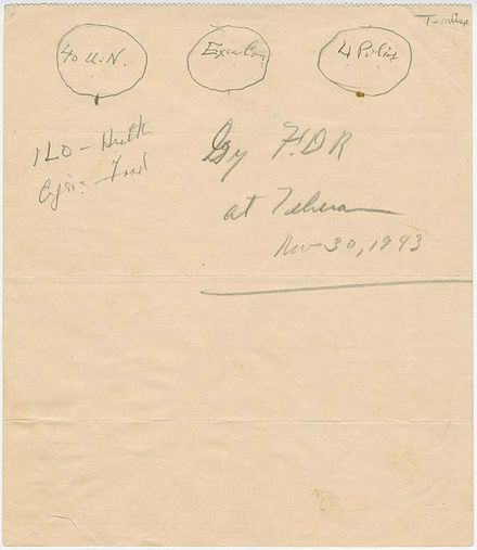 1943 sketch by Franklin Roosevelt of the UN original three branches: The Four Policemen, an executive branch, and an international assembly of forty UN member states United Nations organization sketch by Franklin Roosevelt with the Four Policemen in 1943.jpg