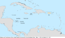 Map of the United States in the Caribbean Sea from May 1, 1915, to March 31, 1917