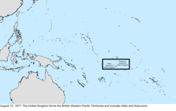 Map of the change to the United States in the Pacific Ocean on August 13, 1877