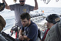 Unmanned underwater vehicle (UUV) operators check the status of a UUV during International Mine Countermeasures Exercise (IMCMEX) 13 in the U.S. 5th Fleet area of responsibility May 17, 2013 130517-N-PX130-007.jpg