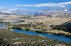 Clutha River - Upper Clutha Valley, looking upriver toward the Southern Alps