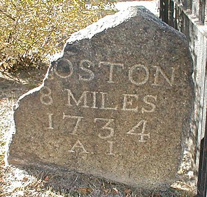 Post road - 18th century milestone on the Boston Post Road