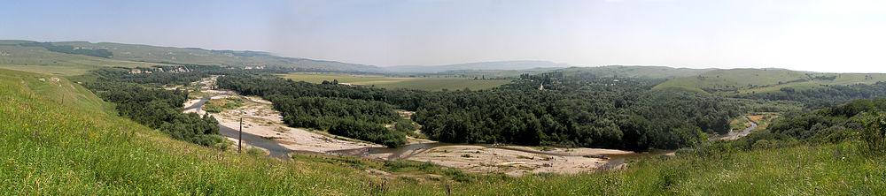 Панорама реки уруп в районе хутора