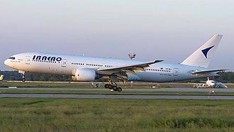 IrAero - IrAero Boeing 777-200 departing at Moscow-Domodedovo