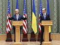 VP Biden and PM Yatsenyuk, Joint Statement, Kyiv, Ukriane, April 22, 2014 (13977938601).jpg