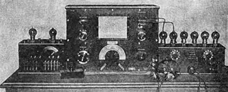 Relaxation oscillator - A vacuum tube Abraham-Bloch multivibrator relaxation oscillator, France, 1920 (small box, left).  Its harmonics are being used to calibrate a wavemeter (center).