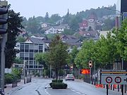 Looking northward at Vaduz city-centre