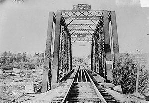Saint Croix–Vanceboro Railway Bridge - View of the bridge between 1910 and 1915.