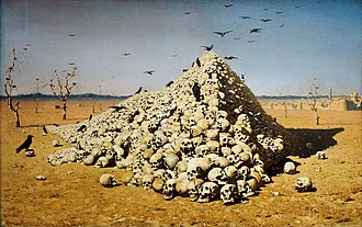 "Conquest (military) - Vasily Vereshchagin, The Apotheosis of War, 1871; dedicated ""to all conquerors, past, present and to come"", a pile of skulls in a wasteland."