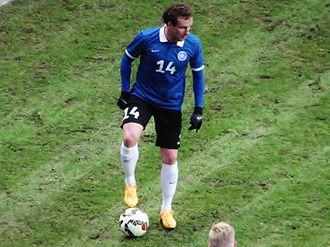 Konstantin Vassiljev - Vassiljev playing in a friendly against Iceland on 31 March 2015
