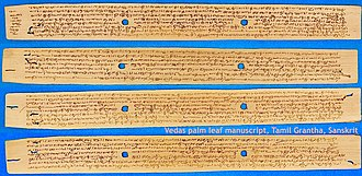 Vedas - Image: Vedas palm leaf manuscript, Tamil Grantha Script, Sanskrit, Tamil Nadu