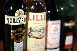 Fortified wine - A collection of vermouth and quinquina bottles, including Noilly Prat Extra Dry, Lillet Blanc, Dolin Rouge, and Martini & Rossi Rosso