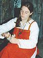 Viking female carding the wool.jpg