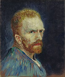 Vincent van Gogh, Self-Portrait, c. 1887, oil on canvas, 15 ¾ by 13 ⅜ inches. Wadsworth Athenaeum Museum of Art, Hartford, Connecticut.jpg
